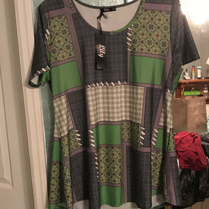 NEW Green / Gray Patchwork Tunic